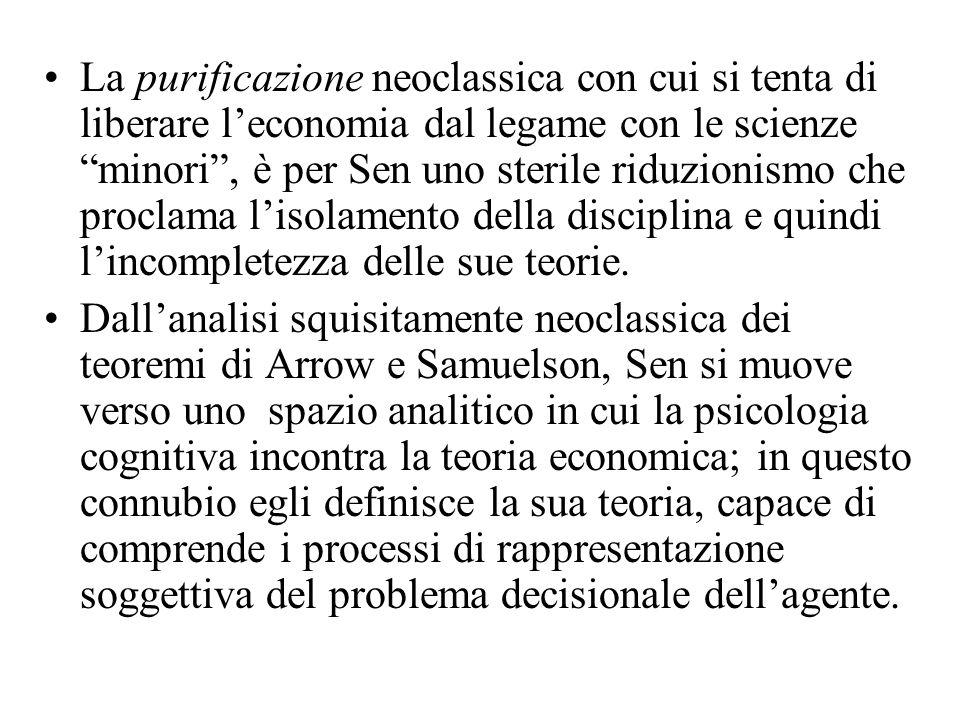La purificazione neoclassica con cui si tenta di liberare l'economia dal legame con le scienze minori , è per Sen uno sterile riduzionismo che proclama l'isolamento della disciplina e quindi l'incompletezza delle sue teorie.