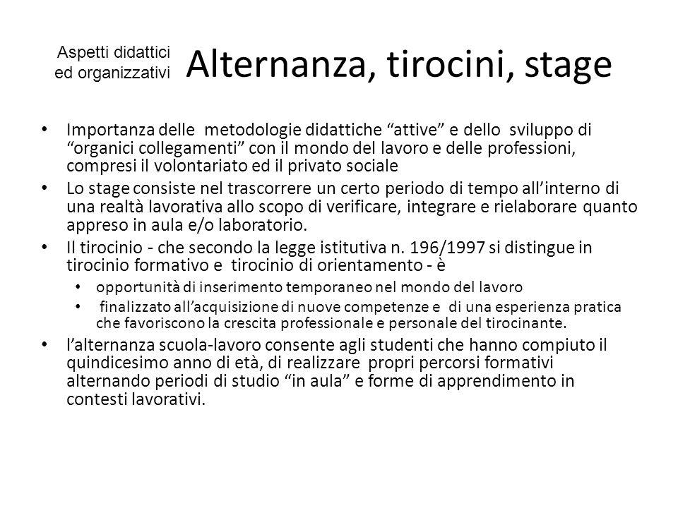 Alternanza, tirocini, stage
