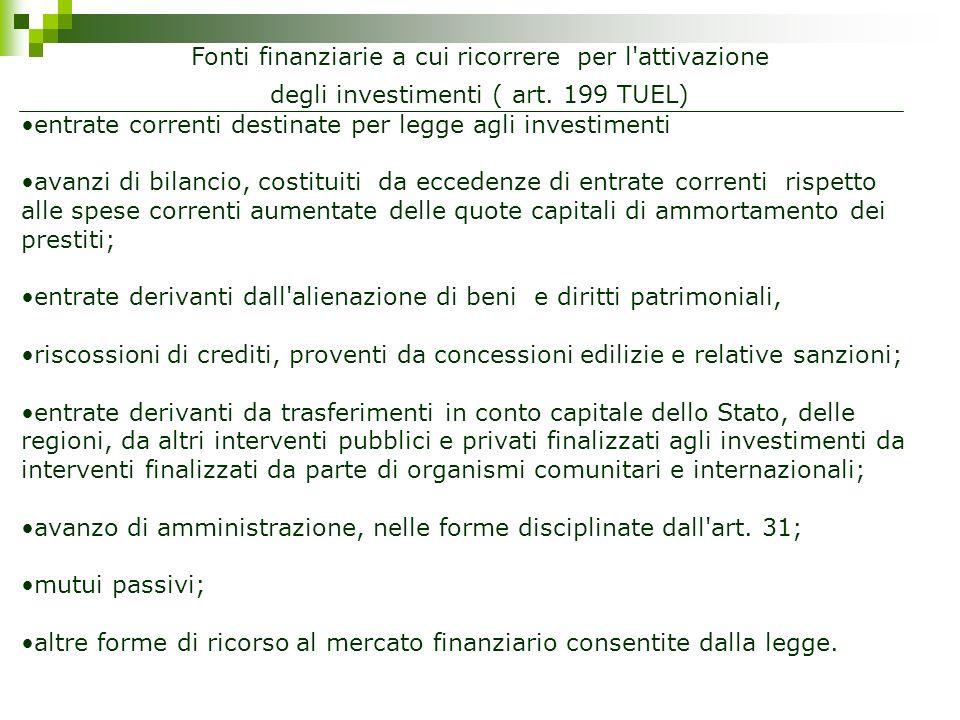 Fonti finanziarie a cui ricorrere per l attivazione