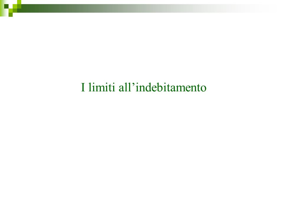 I limiti all'indebitamento