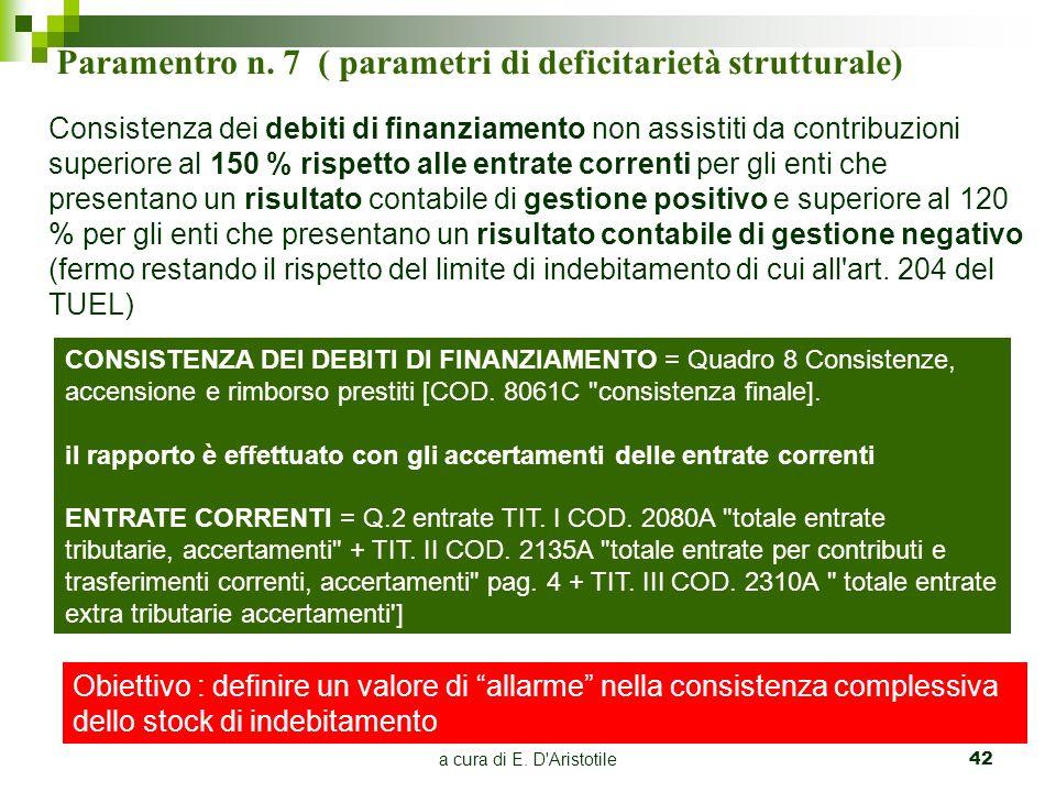 Paramentro n. 7 ( parametri di deficitarietà strutturale)