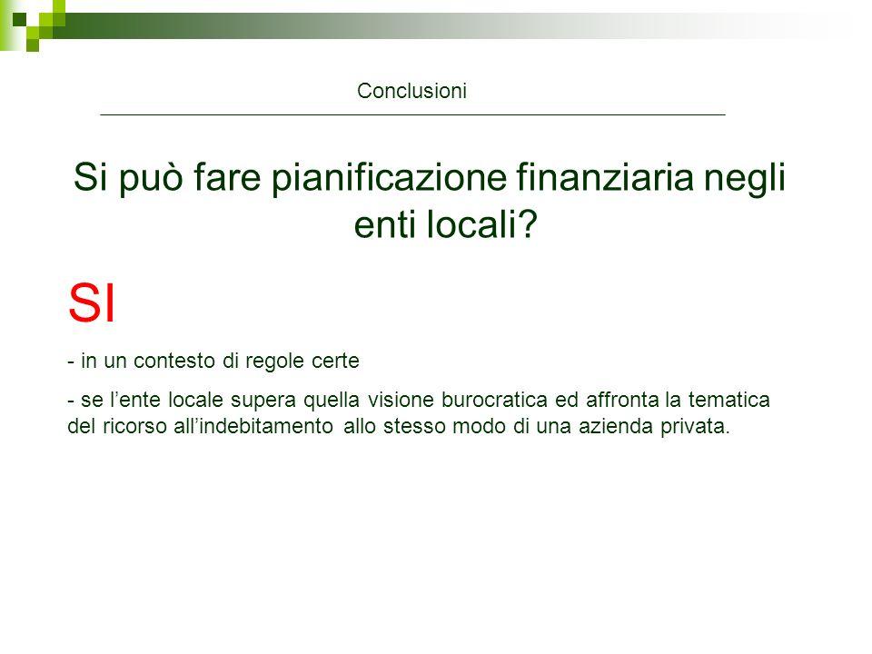 Si può fare pianificazione finanziaria negli enti locali