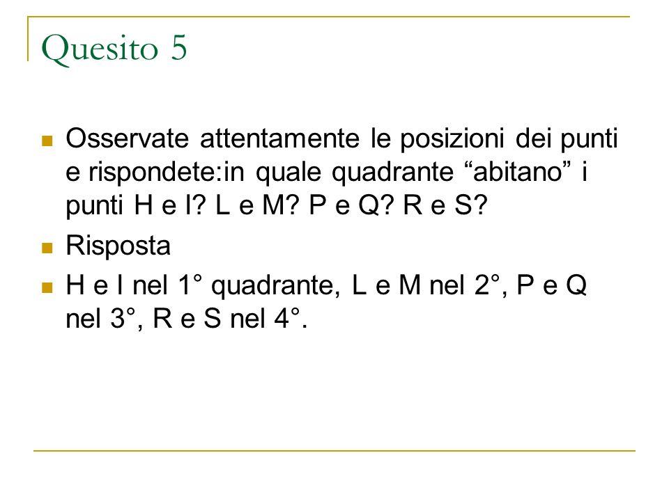 Quesito 5 Osservate attentamente le posizioni dei punti e rispondete:in quale quadrante abitano i punti H e I L e M P e Q R e S