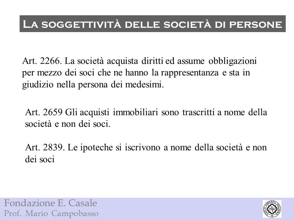 La soggettività delle società di persone