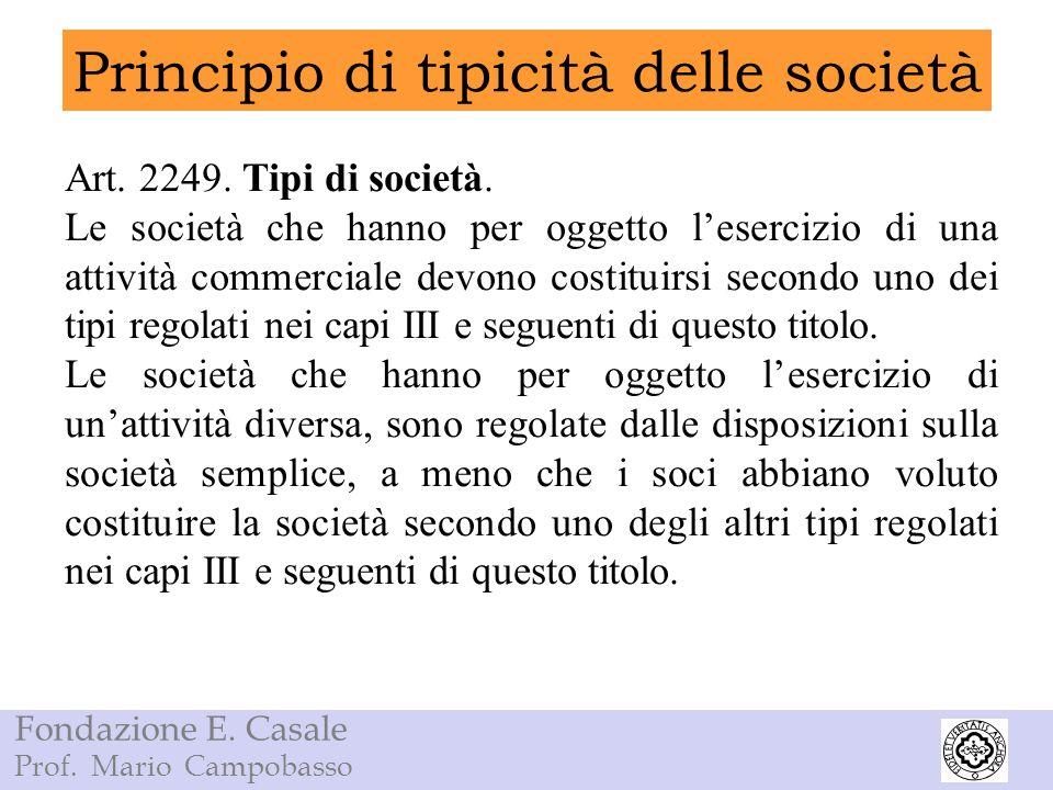 Principio di tipicità delle società