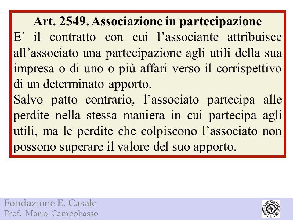 Art. 2549. Associazione in partecipazione