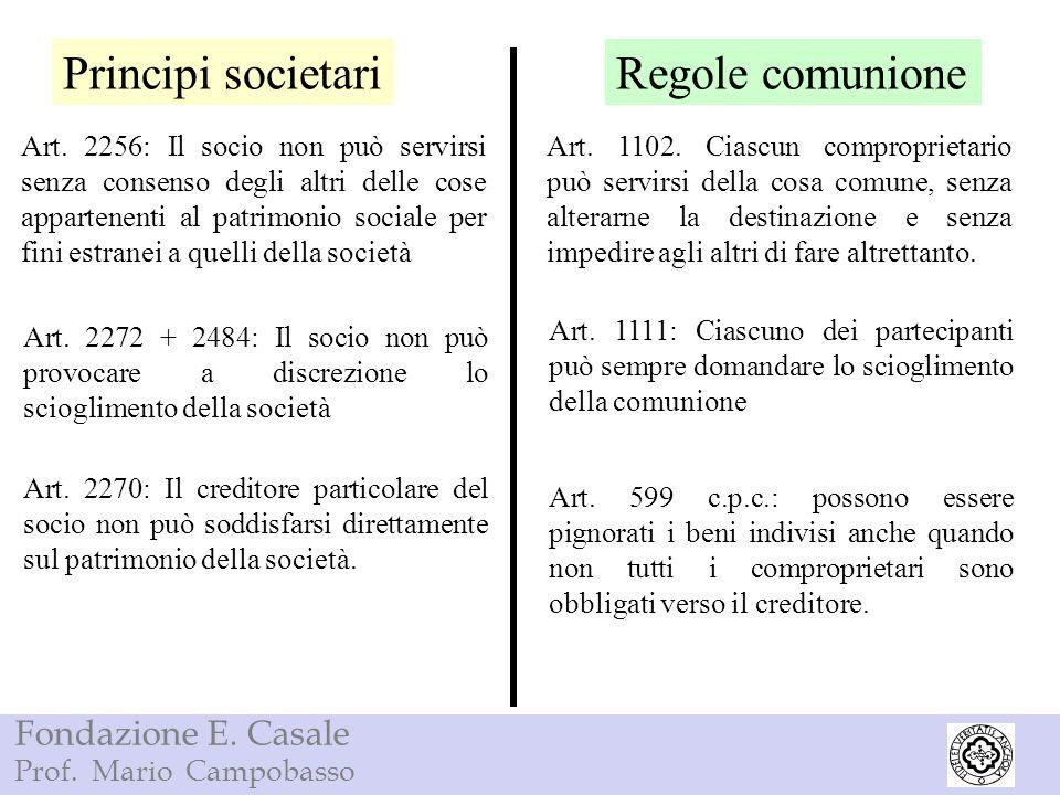 Principi societari Regole comunione