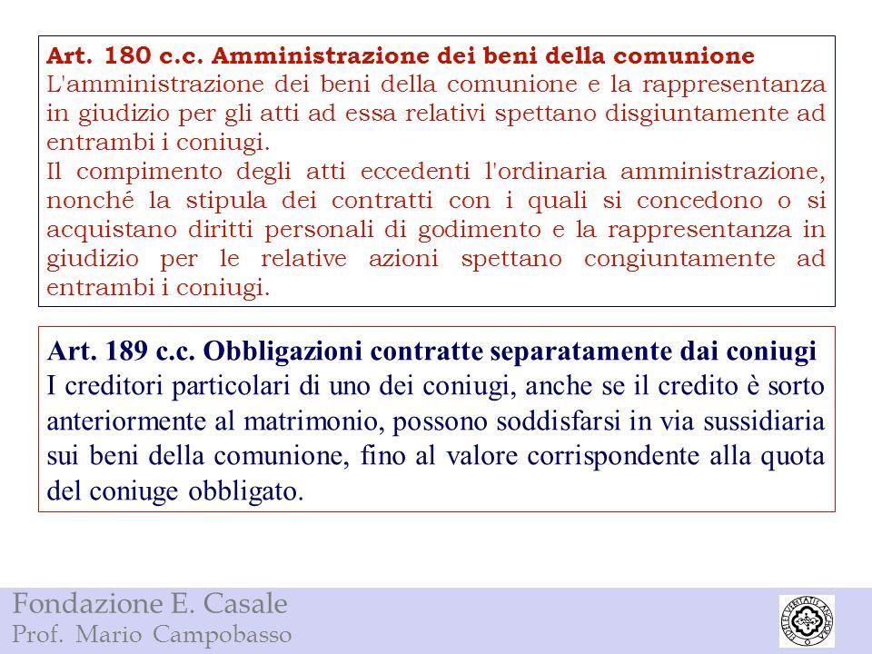 Art. 189 c.c. Obbligazioni contratte separatamente dai coniugi