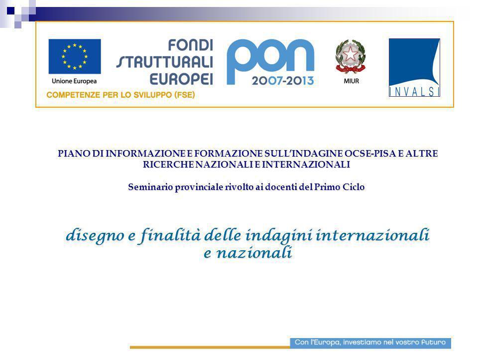 disegno e finalità delle indagini internazionali e nazionali