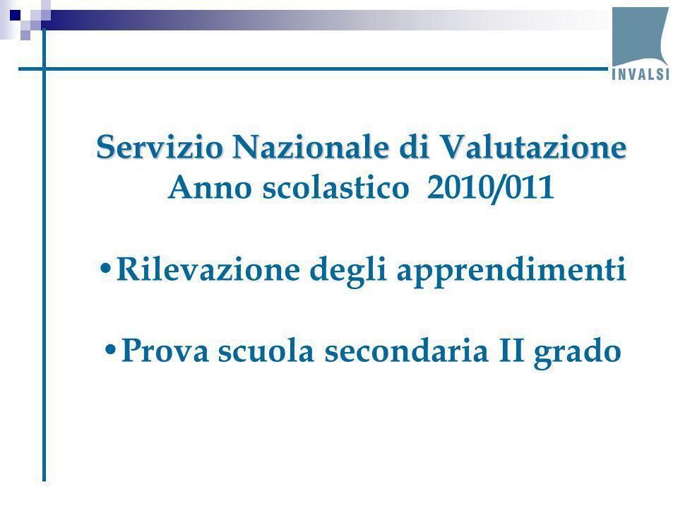Servizio Nazionale di Valutazione Anno scolastico 2010/011