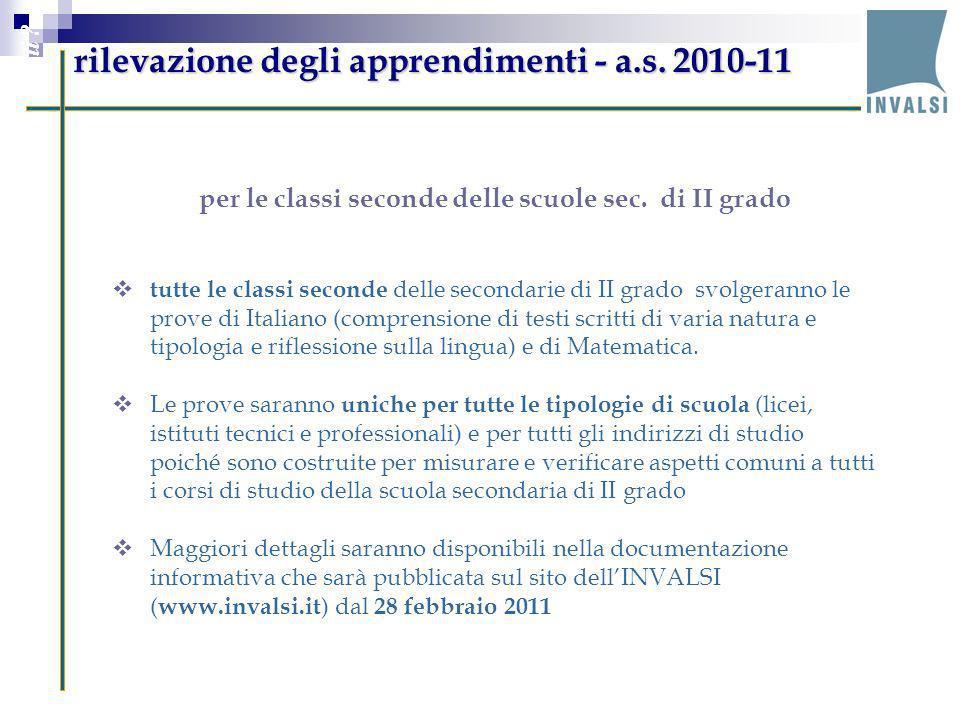 rilevazione degli apprendimenti - a.s. 2010-11