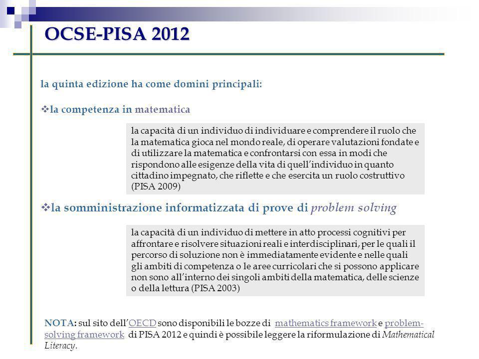 OCSE-PISA 2012 la quinta edizione ha come domini principali: la competenza in matematica.