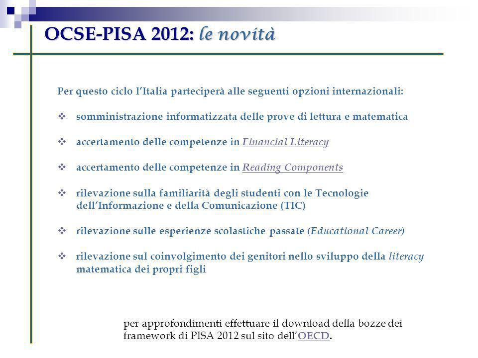 OCSE-PISA 2012: le novità Per questo ciclo l'Italia parteciperà alle seguenti opzioni internazionali: