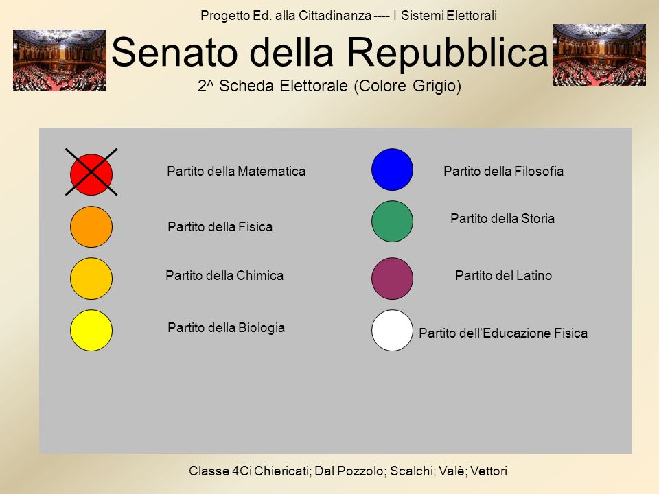 Senato della Repubblica 2^ Scheda Elettorale (Colore Grigio)