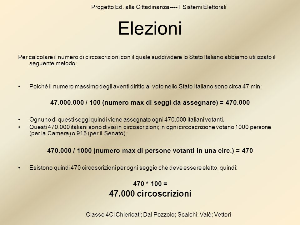 Elezioni 47.000 circoscrizioni