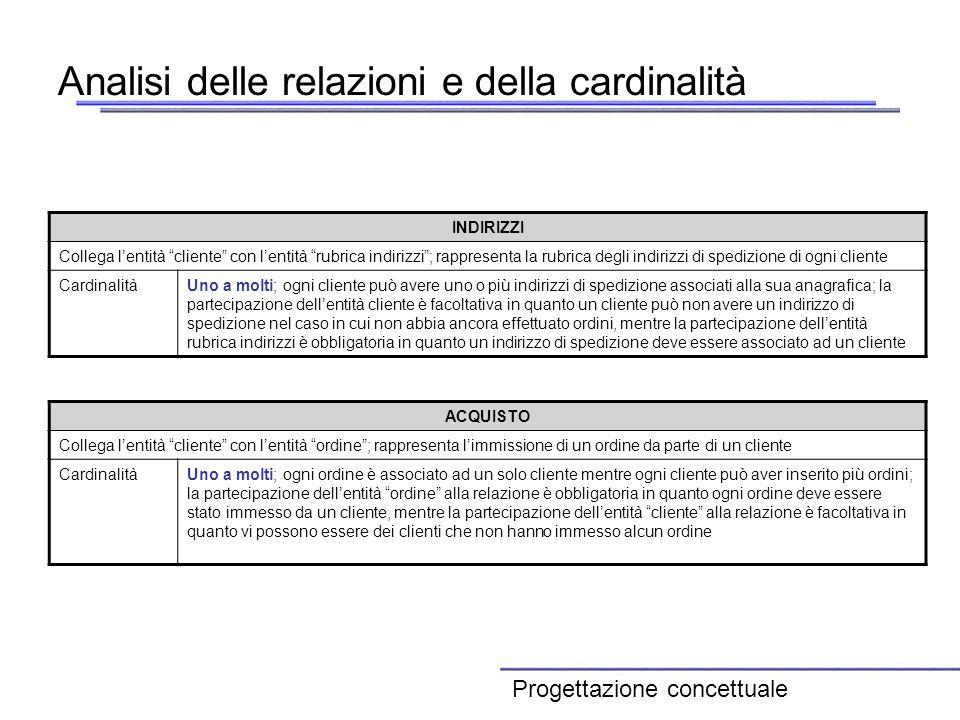 Analisi delle relazioni e della cardinalità