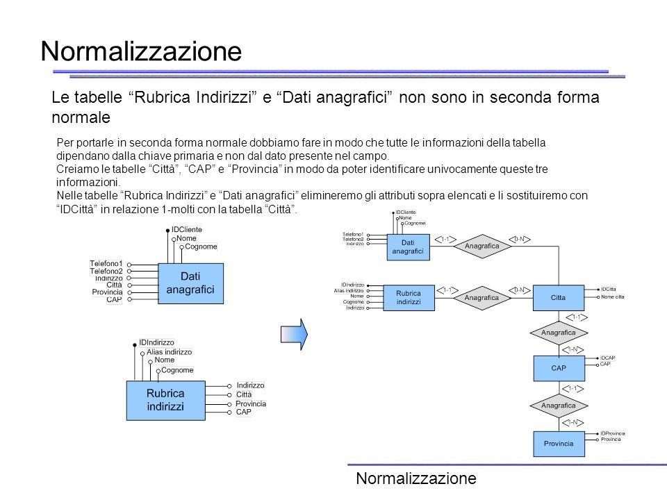 Normalizzazione Le tabelle Rubrica Indirizzi e Dati anagrafici non sono in seconda forma normale.