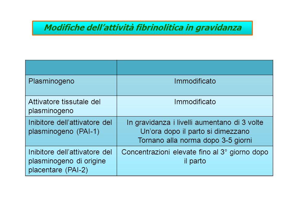 Modifiche dell'attività fibrinolitica in gravidanza