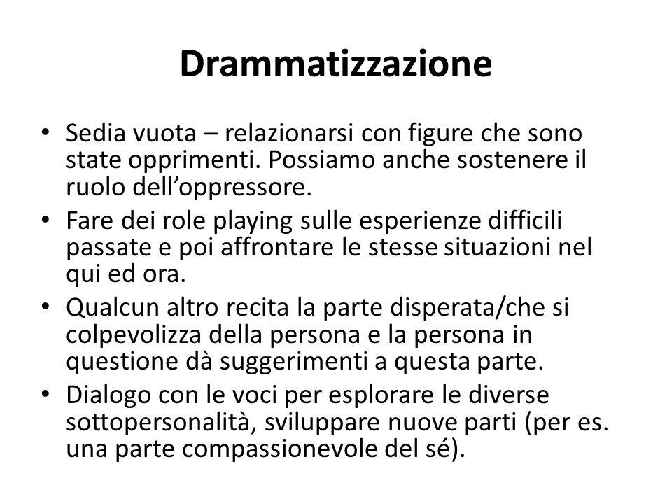 Drammatizzazione Sedia vuota – relazionarsi con figure che sono state opprimenti. Possiamo anche sostenere il ruolo dell'oppressore.