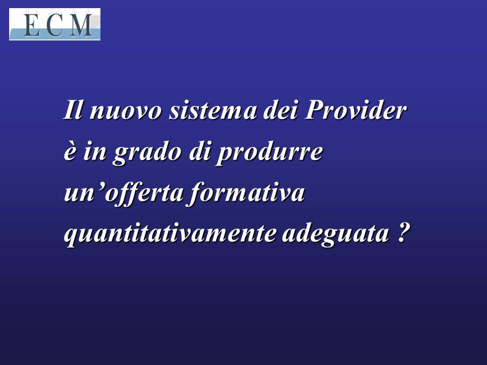 Il nuovo sistema dei Provider è in grado di produrre un'offerta formativa quantitativamente adeguata