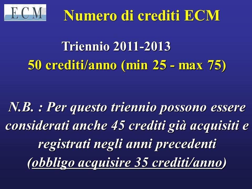 50 crediti/anno (min 25 - max 75) (obbligo acquisire 35 crediti/anno)