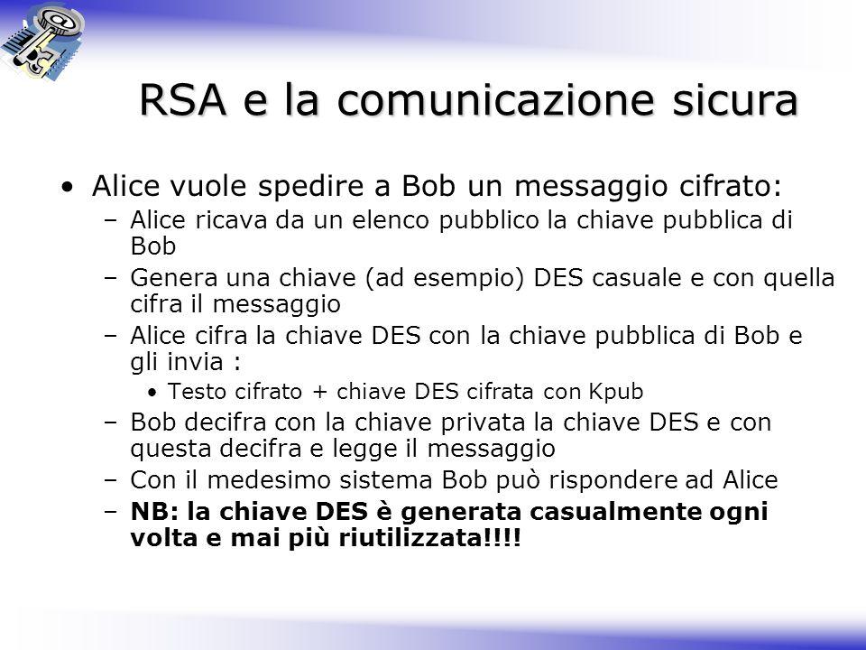 RSA e la comunicazione sicura