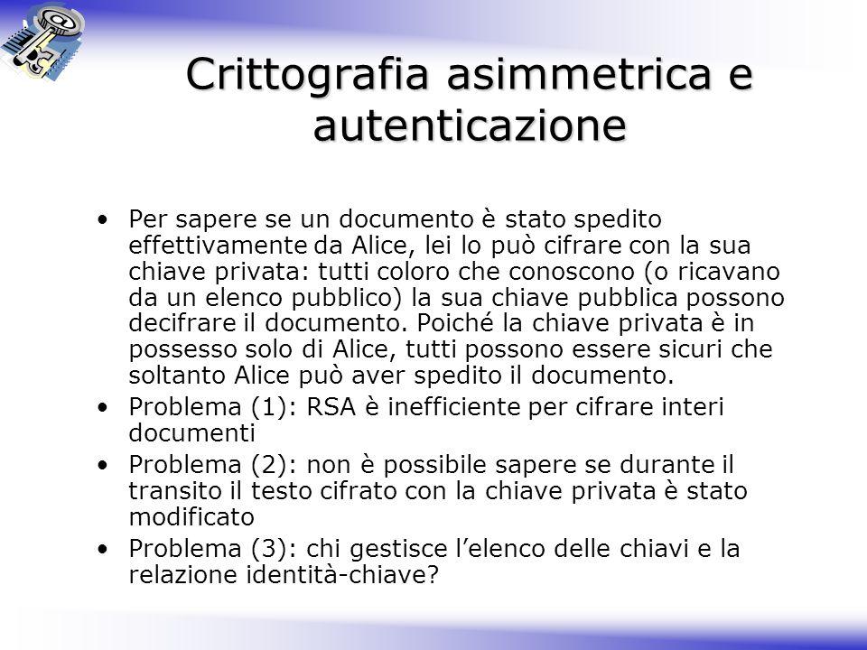 Crittografia asimmetrica e autenticazione
