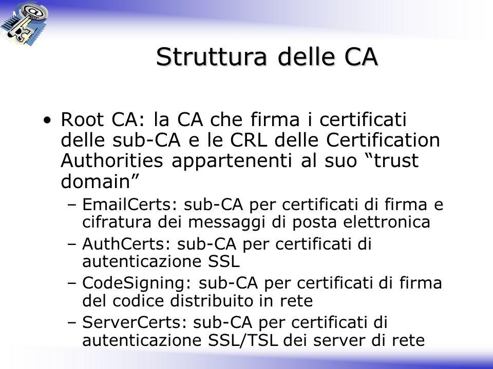 Struttura delle CA Root CA: la CA che firma i certificati delle sub-CA e le CRL delle Certification Authorities appartenenti al suo trust domain