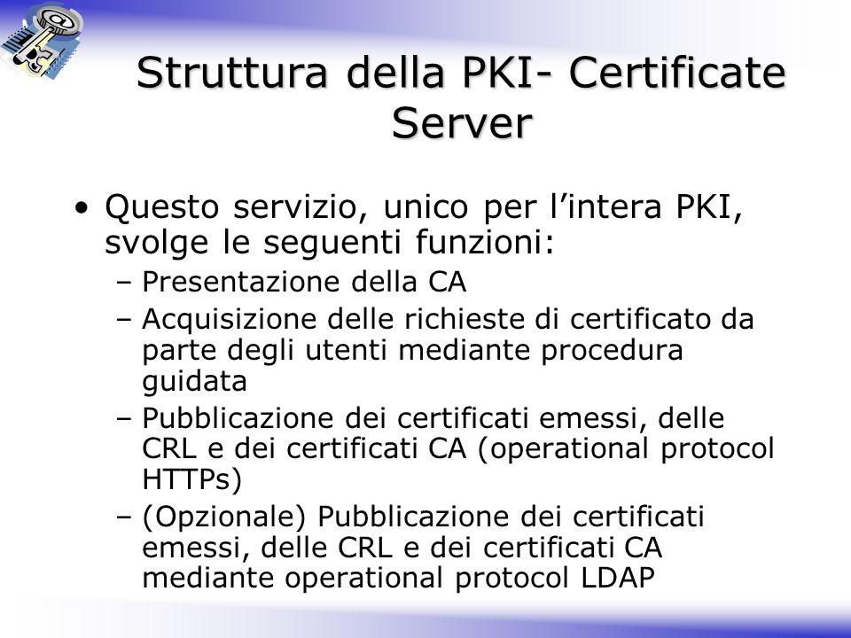 Struttura della PKI- Certificate Server