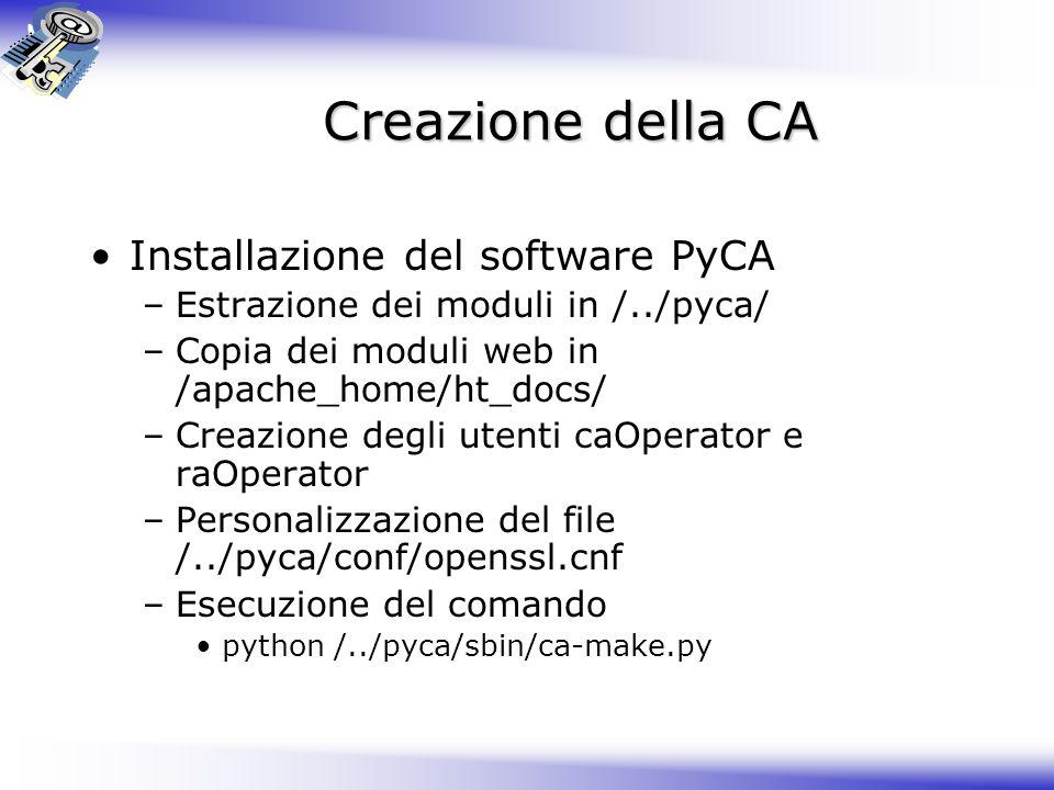 Creazione della CA Installazione del software PyCA