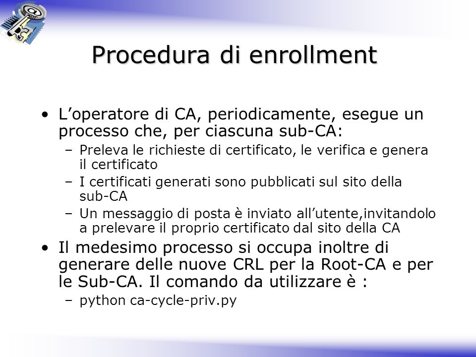 Procedura di enrollment
