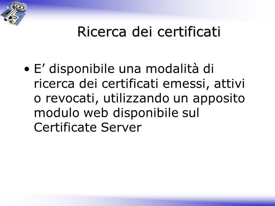 Ricerca dei certificati