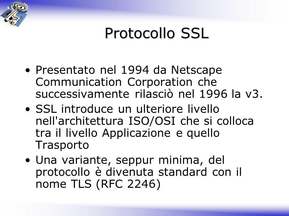 Protocollo SSL Presentato nel 1994 da Netscape Communication Corporation che successivamente rilasciò nel 1996 la v3.