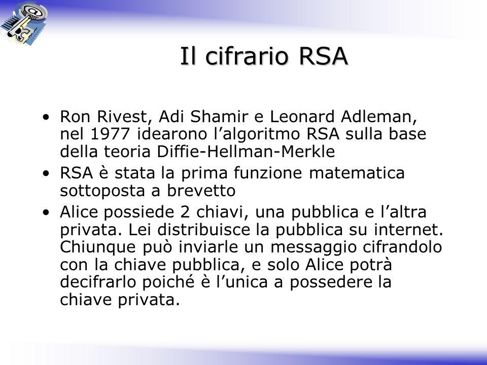Il cifrario RSA Ron Rivest, Adi Shamir e Leonard Adleman, nel 1977 idearono l'algoritmo RSA sulla base della teoria Diffie-Hellman-Merkle.