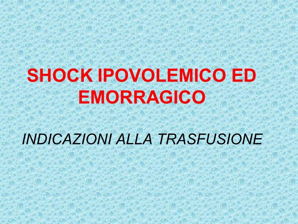SHOCK IPOVOLEMICO ED EMORRAGICO INDICAZIONI ALLA TRASFUSIONE