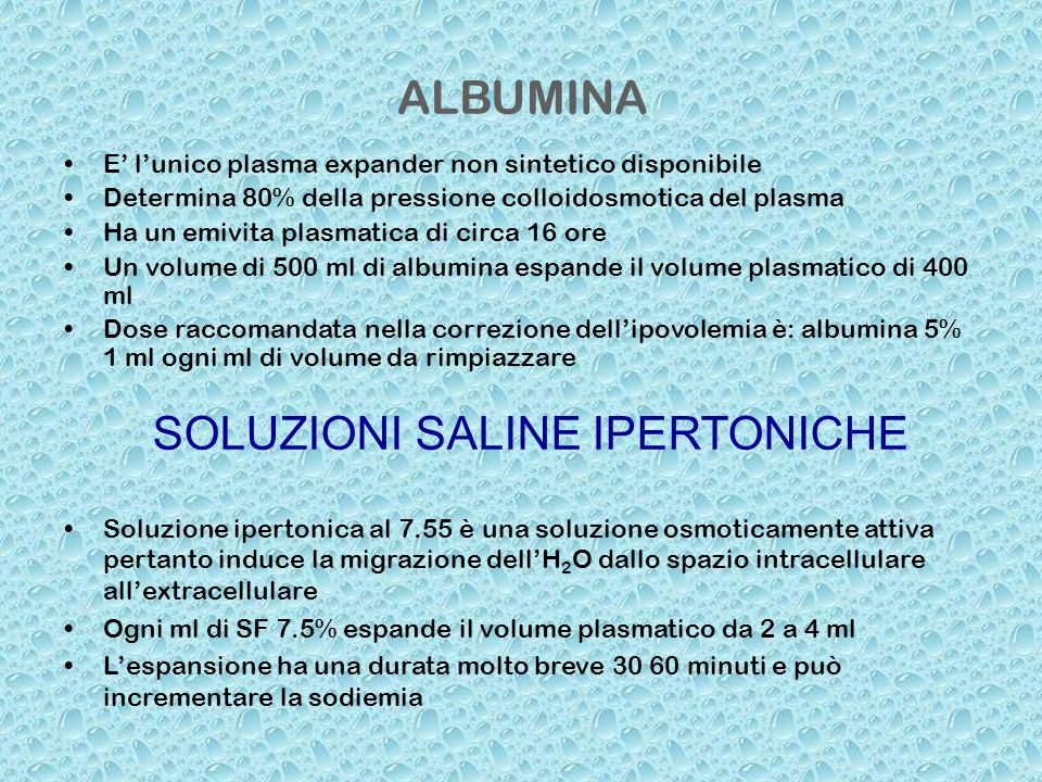 SOLUZIONI SALINE IPERTONICHE