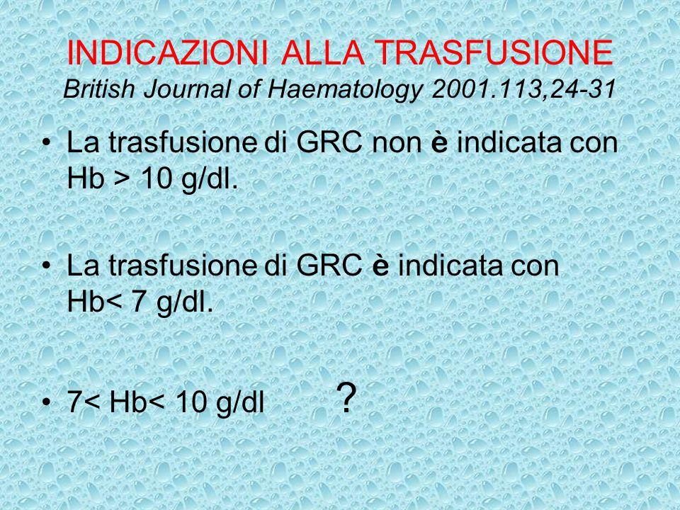INDICAZIONI ALLA TRASFUSIONE British Journal of Haematology 2001
