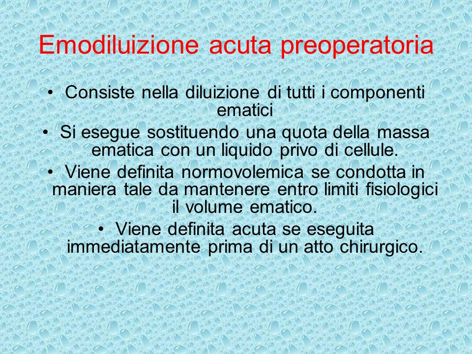 Emodiluizione acuta preoperatoria