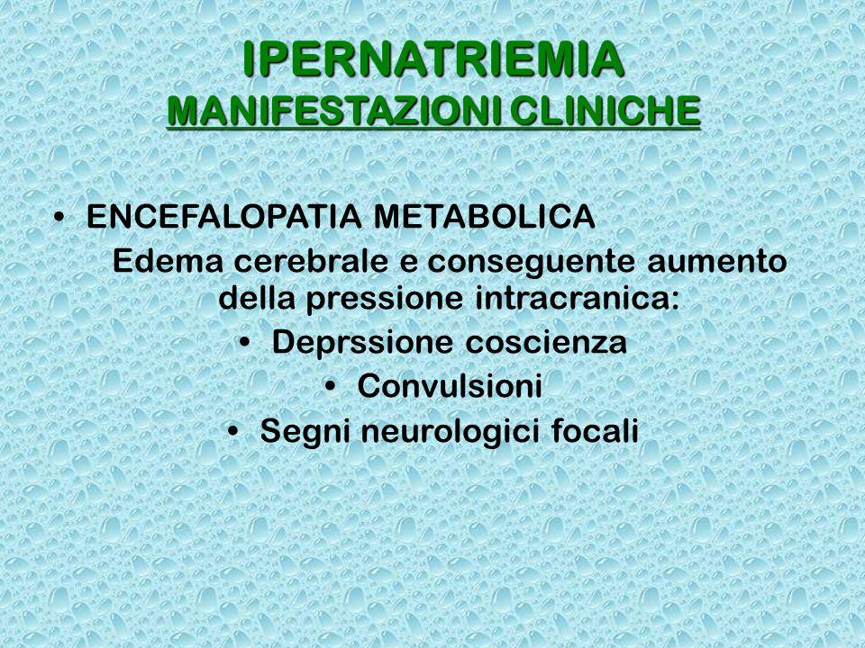 IPERNATRIEMIA MANIFESTAZIONI CLINICHE