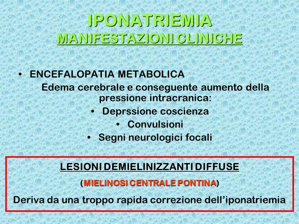 IPONATRIEMIA MANIFESTAZIONI CLINICHE