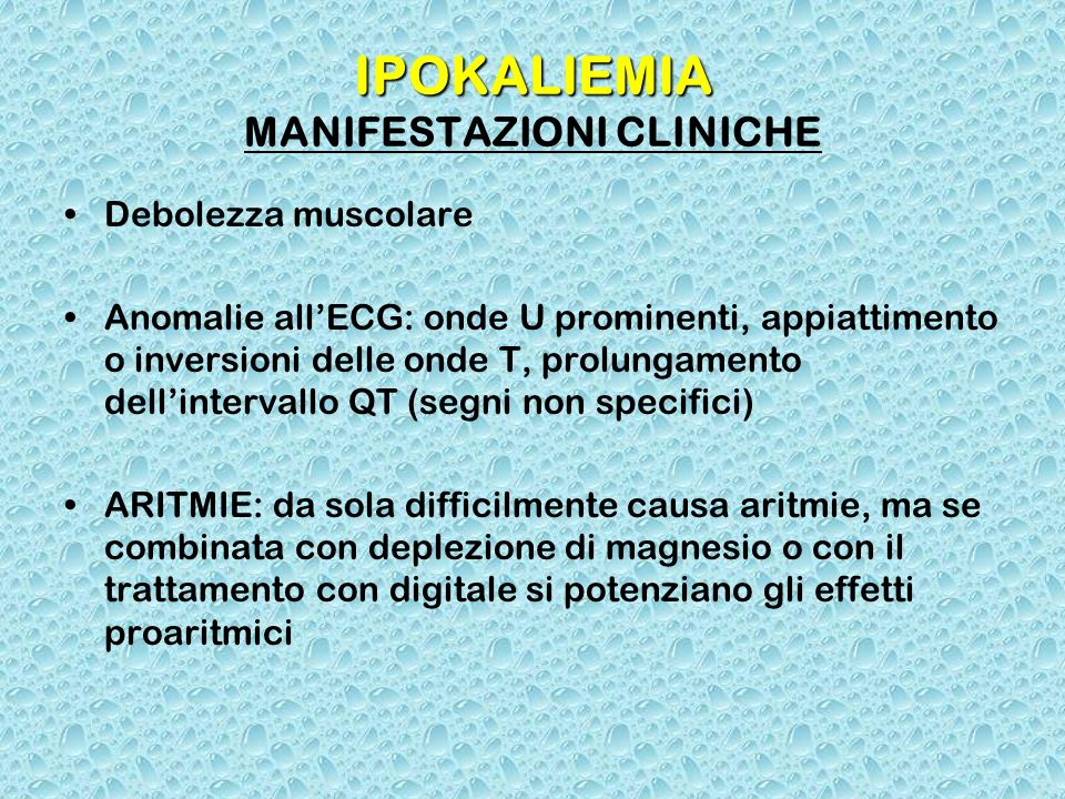 IPOKALIEMIA MANIFESTAZIONI CLINICHE