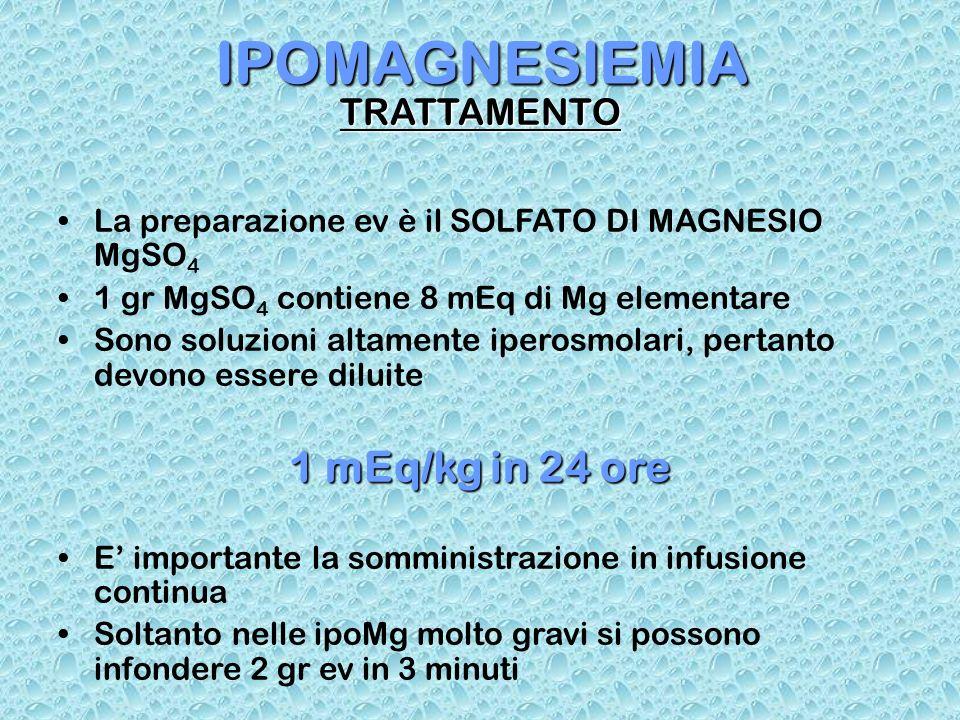 IPOMAGNESIEMIA 1 mEq/kg in 24 ore TRATTAMENTO