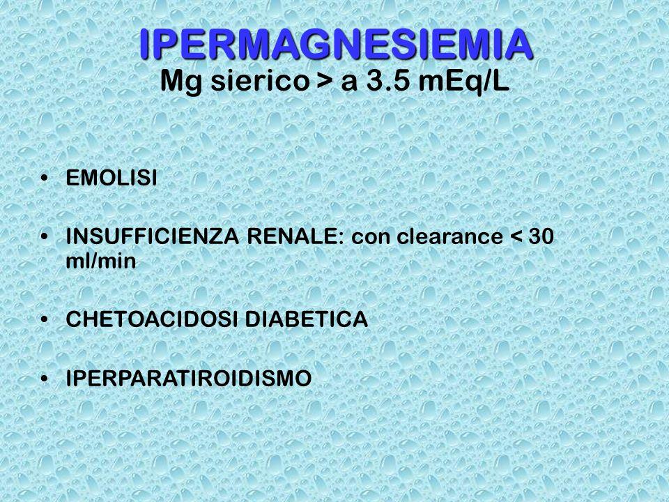 IPERMAGNESIEMIA Mg sierico > a 3.5 mEq/L EMOLISI