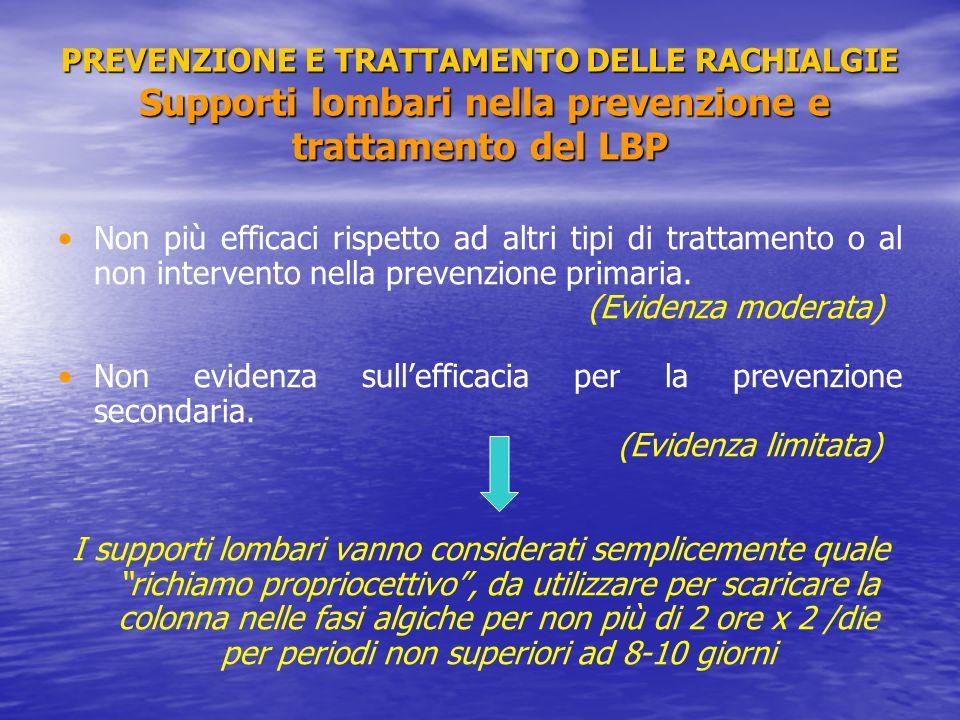 PREVENZIONE E TRATTAMENTO DELLE RACHIALGIE Supporti lombari nella prevenzione e trattamento del LBP