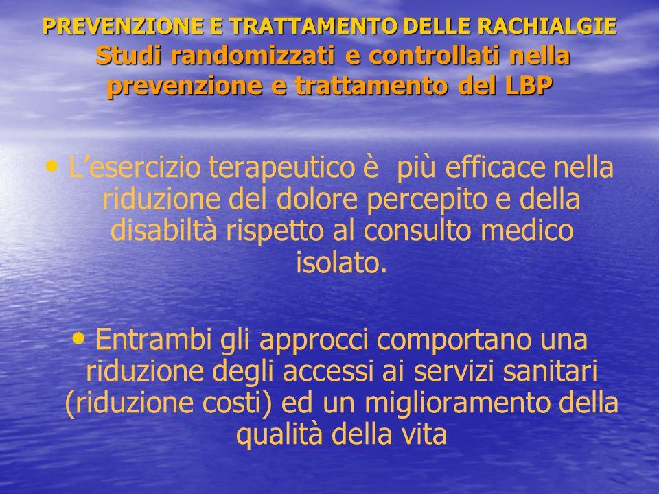 PREVENZIONE E TRATTAMENTO DELLE RACHIALGIE Studi randomizzati e controllati nella prevenzione e trattamento del LBP