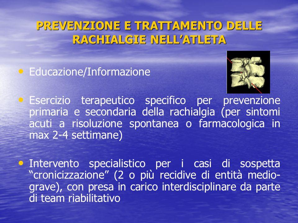 PREVENZIONE E TRATTAMENTO DELLE RACHIALGIE NELL'ATLETA