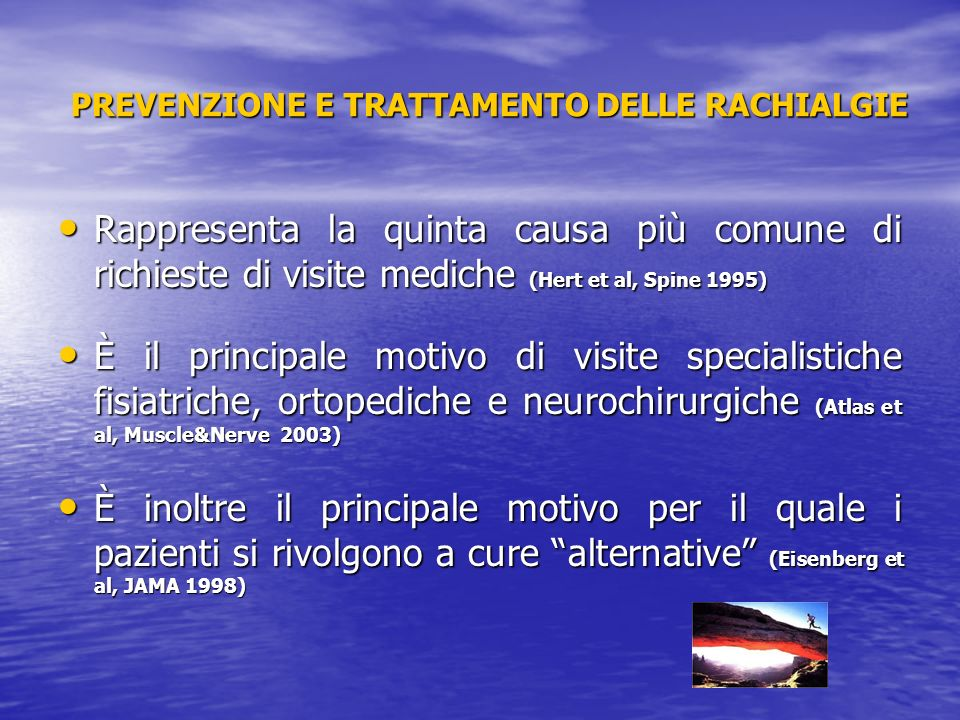 PREVENZIONE E TRATTAMENTO DELLE RACHIALGIE