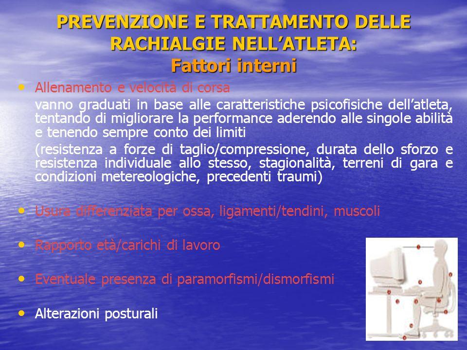 PREVENZIONE E TRATTAMENTO DELLE RACHIALGIE NELL'ATLETA: Fattori interni
