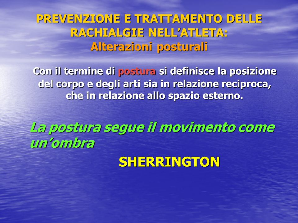 La postura segue il movimento come un'ombra SHERRINGTON