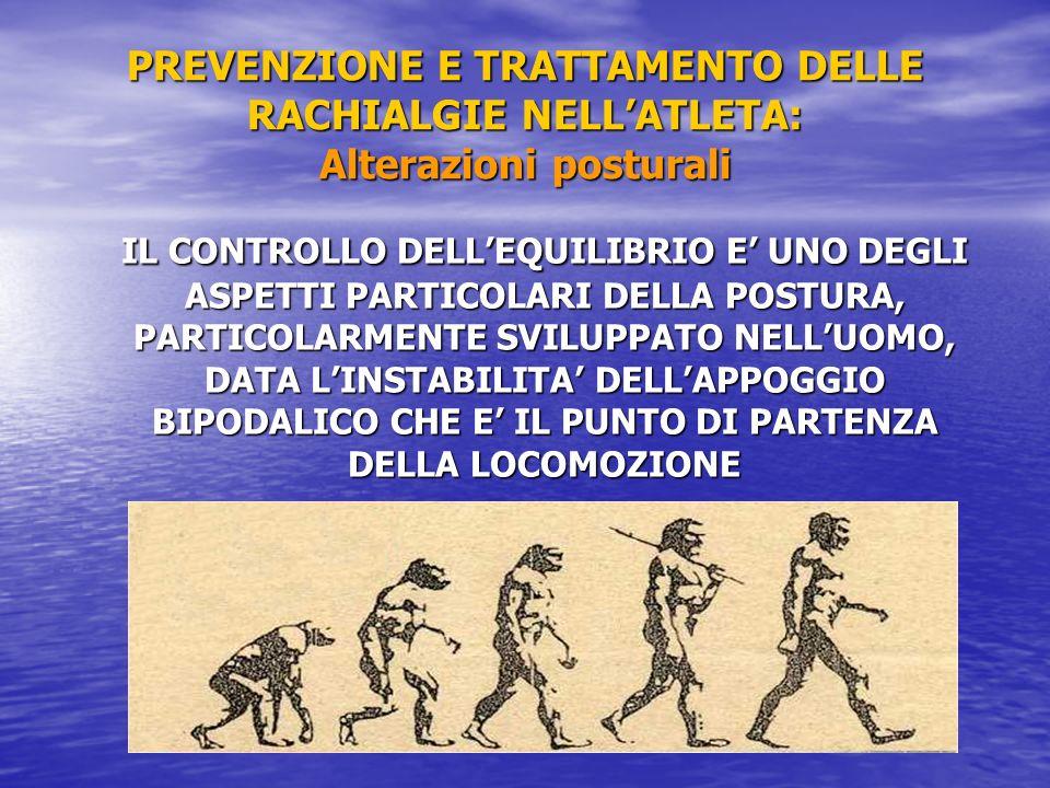 PREVENZIONE E TRATTAMENTO DELLE RACHIALGIE NELL'ATLETA: Alterazioni posturali